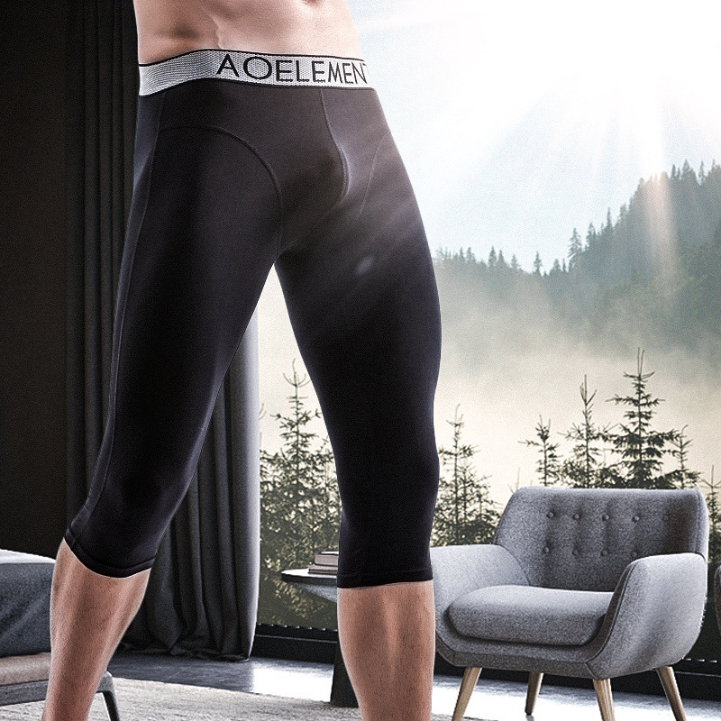 Men's Wear-resistant Leg Sports Long Leg Underwear Cropped Trousers Modal Quick-drying Boxer Running Short Boxers