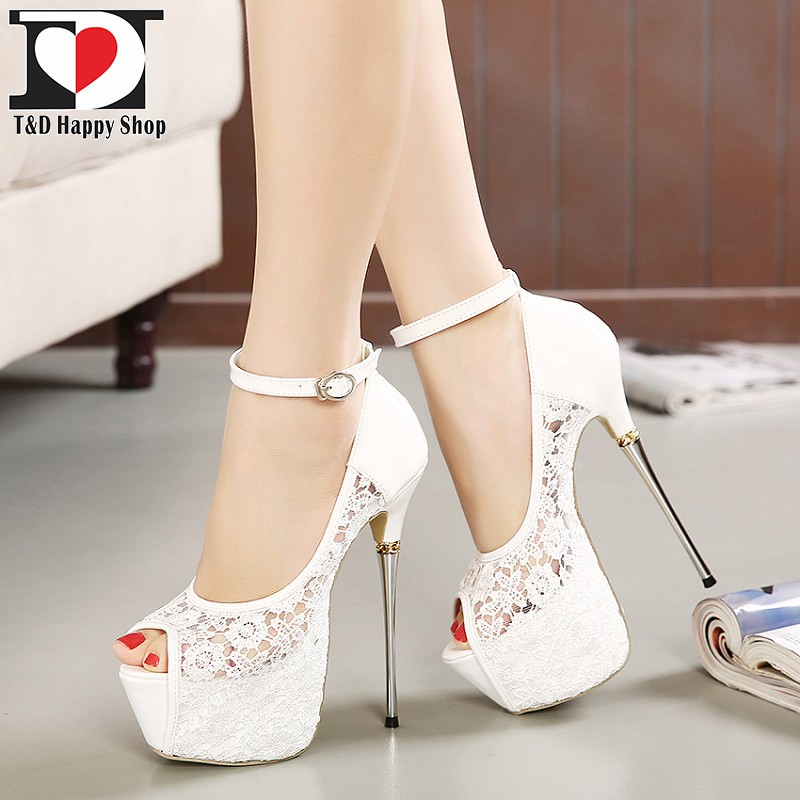 d9d287b9703ec TandD White Lace Pumps Wedding Shoes Peep Toe High Heels Zapatos Mujer  Tacon Plataforma Sandals Free Shipping