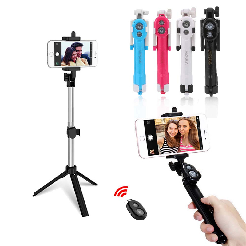 4 Colors Selfie Stick Mini Tripod Monopod Selfie Stick Bluetooth Remote Control Shutter Handheld Extendable Monopod Selfie Stick floveme tripod selfie stick wireless bluetooth monopod for iphone samsung xiaomi remote control handheld smartphone selfie stick