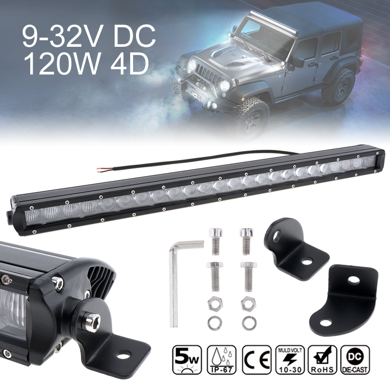 24 Inch 120W 4D Straight Offroad Car Work Light Bar 24x Combo Beam LED Driving Lamp for Vehicle Off-Road Truck SUV ATV Worklight brand new universal 40 w 6 inch 12 v led car work light daytime running lights combo light off road 4 x 4 truck light