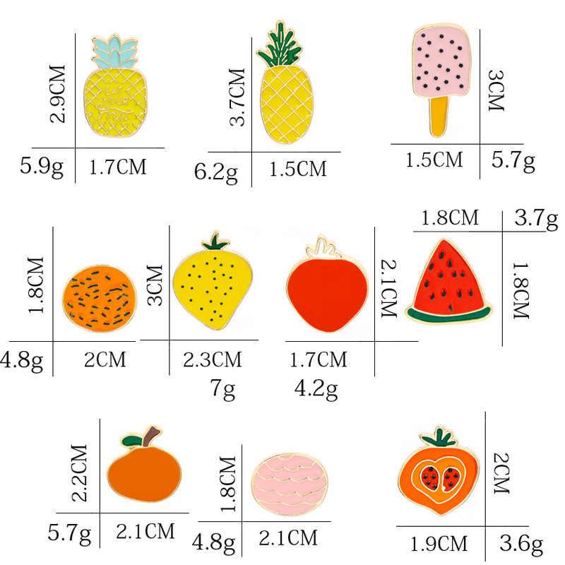 10 Spille Cute Cartoon Frutta Spille per Le Donne Spille eapple Anguria Arancione Strawberry Ice Cream Smalto Spille Giubbotti Gioielli Distintivo