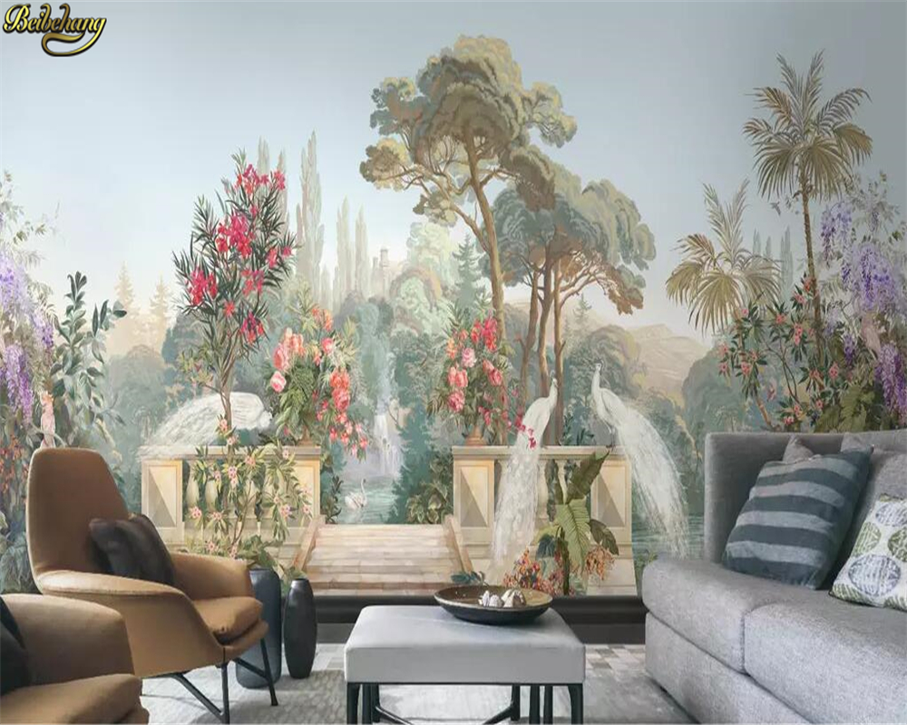 Us 885 41 Offbeibehang Custom 3d Wallpaper Mural Court Garden White Peacock Ancient Rome American Hand Painted Flowers And Birds Landscape In