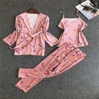 Женская Осенняя Пижама, костюм из трех предметов, домашняя одежда, тонкая Домашняя одежда, Золотая Бархатная Пижама, сексуальная пижама с дл