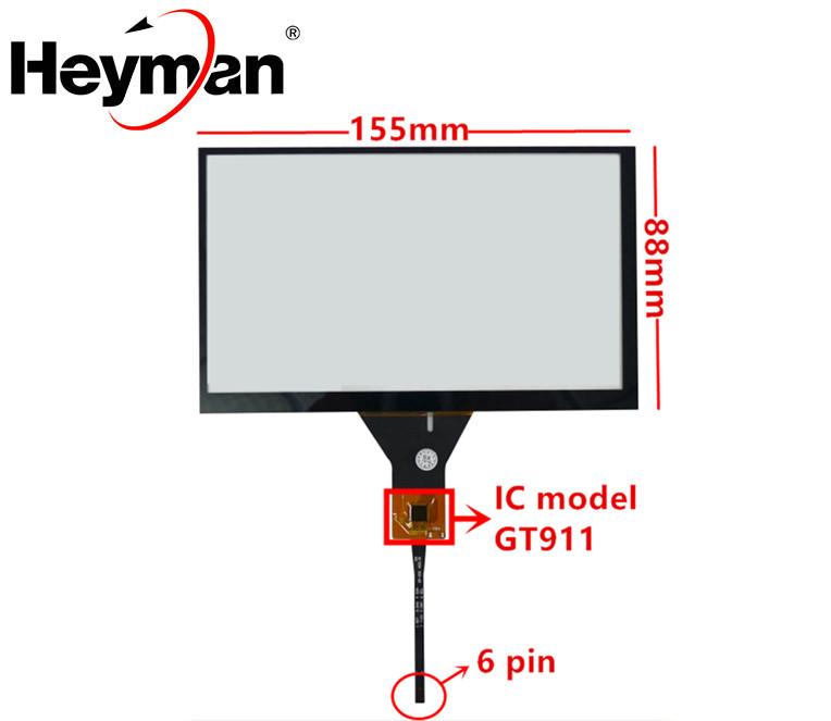 6.2 Inch 155*88 155mm*88mm GT911 Universal Capacitive Touch Digitizer Car DVD Navigation Touch Screen Panel Glass