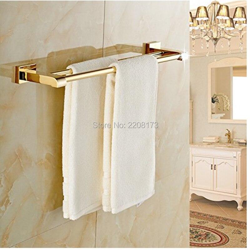 2017 Роскошные Аксессуары для ванной комнаты 100% латунь золото Polished Ванная комната двойной Штанги для полотенец Настенный Полотенца стойки