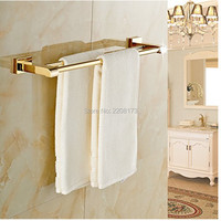2016 Luxury Bathroom Accessories 100 Brass Gold Polished Bathroom Double Towel Bars Wall Mounted Towel Rack