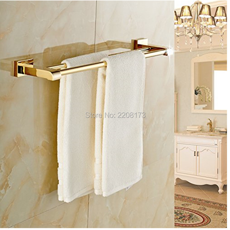 2017 Luxury Bathroom Accessories 100 Brass Gold Polished Bathroom Double Towel Bars Wall