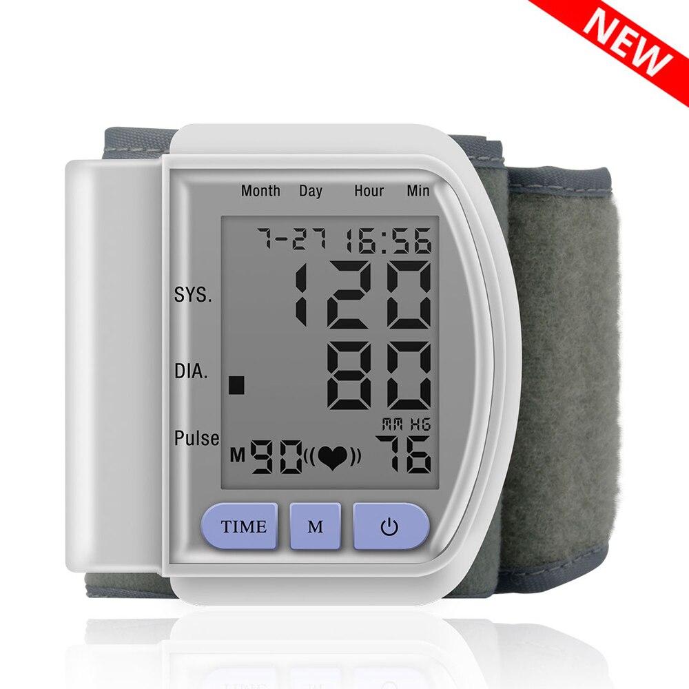 Display lcd digital automático pulso monitor de pressão arterial batimento cardíaco medidor de pulso tonômetro esfigmomanômetros pulsometer