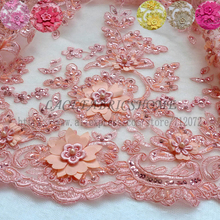 La Belleza 1 yard 3D flowers/beaded gown lace fabric Orange/Rose pink/Fucsia/Beige/Yellow