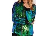 Новый Punk Rave Блесток Куртки Chic Вышивка Бомбардировщик Куртка Женщин Основные Пальто О-Образным Вырезом С Длинными Рукавами И Пиджаки Блузон Femme FS0428