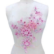 1 Piece 3D Flower Embroidery Beaded Lace Applique Crystal Trim Dress Fabrics Material Pink Navy Purple Red Color DIY
