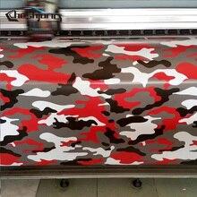Cheshjong Rojo Camo Jumbo carstyling Carrocería Del Camión Retrovisor Espejo Calcomanía Camuflaje Película Del Vinilo Wrap Burbuja de Aire Del PVC Pegatinas Bomba
