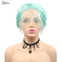 Sylvia Short Hair Mint Green Synthetic Bob Wigs For Women Party Handmade Lace Front Wigs With Baby Hair Pastel Summer Color Wigs