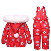 IMBABY Baby Jumpsuit Winter Duck Down Baby Girls Snowsuits Toddler Jumpsuit Bowknot Polka Dot Hoodies Girl Down Jacket Snowsuits