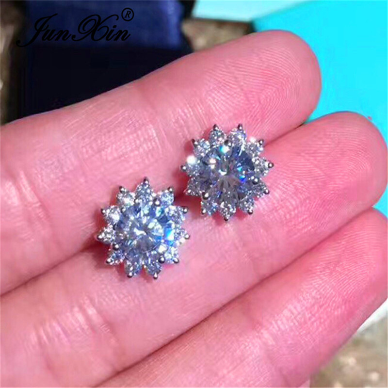 JUNXIN Cute White Snowflake Stud Earrings For Women Silver Color Round Crystal Wedding Earrings Fashion Piercing Jewelry