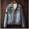 Hot sale 2017 men's Denim jacket Men Classic Denim coat popular Motorcycle jackets  fashion mens clothing hole decoration