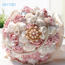 BRITNRY In stock Stunning Wedding Bouquet Satin Rose with Crystals Bridal Bouquet Beautiful Flower Bouquet Wedding Accessories