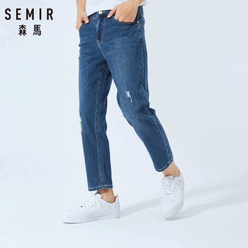 SEMIR nuevo 2019 famosa marca verano hombres Jeans moda diseñador recto gran tamaño pantalones vaqueros delgados
