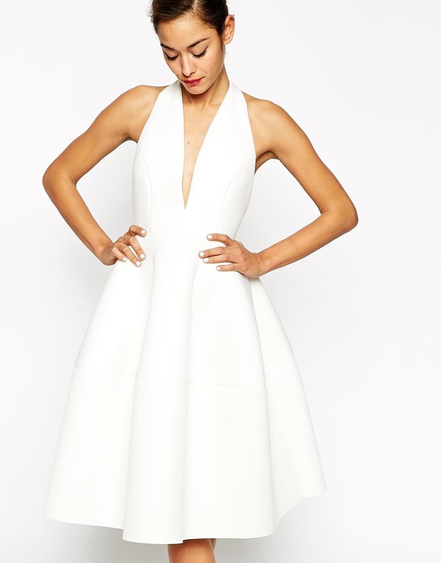 halter neck simple short white evening dress 2015 robe de. Black Bedroom Furniture Sets. Home Design Ideas