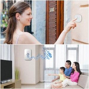 Image 4 - Fuers בית אבטחה בברכה אלחוטי פעמון חכם פעמוני פעמון אזעקת LED אור 32 שירים עם עמיד למים מגע כפתור