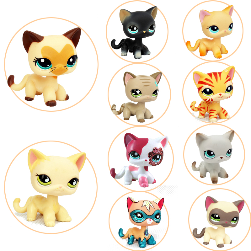 Rare Pet Shop Toys Old Original Short Hair Standing Kitty Black Pink Yellow Tabby Cat Littlest Animal Collection Kids Gift