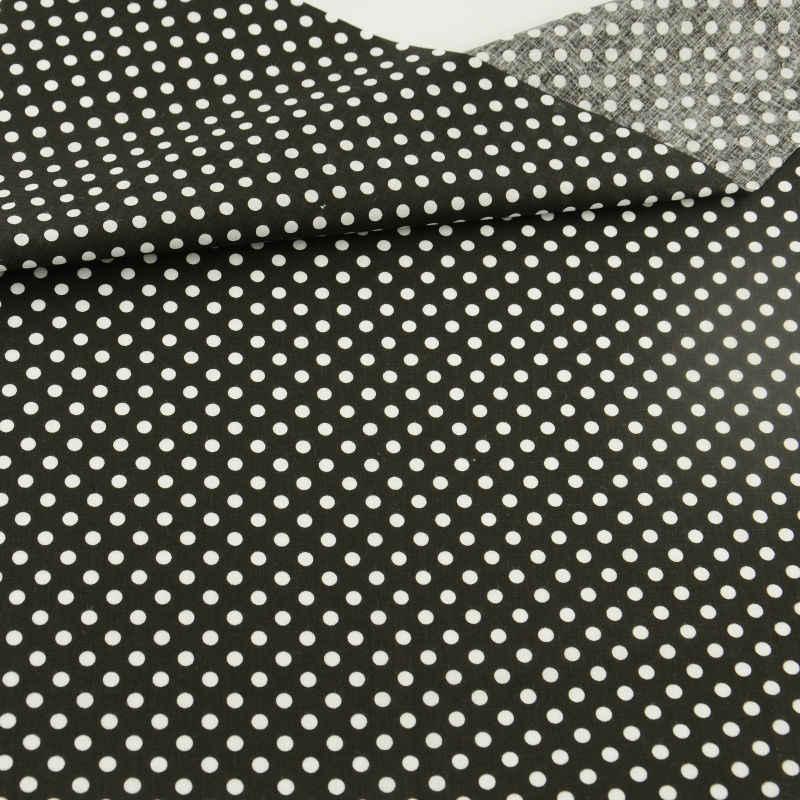 2016 New Arrivals Fat Quarter w białe kropki projekt prosta czarna tkanina bawełniana dla lalki DIY odzież rzemiosło Patchwork metr tkaniny