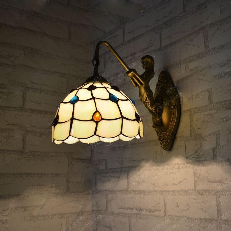 Simple modern European style wall lamp Tiffany lamp bedside bedroom wall lamp mirror bathroom Mermaid peacock tail lamp zinc alloy european minimalist bedroom bedside lamp glass wall lamp bar tiffany nostalgic antique mirror before lighting