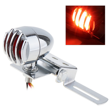 Universal Motorcycle Retro Refit Metal Taillight Stoplight Black Color with Grill Cover for Harley