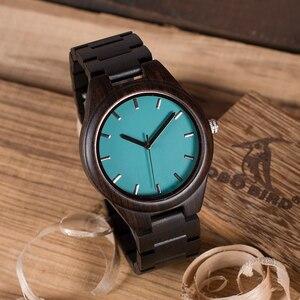 Image 5 - BOBO BIRD WI21 Ebony деревянные мужские часы лучший бренд синий простой деревянный ремешок Классические кварцевые наручные часы в подарок принимаем OEM Relogio