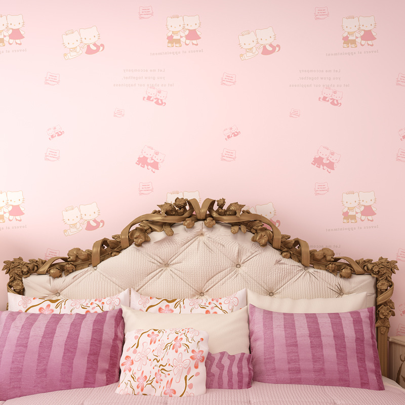 2015 New Warm Pink Childrens Room Wallpaper Girls Bedroom Full Of Cartoon In Wallpapers From Home Improvement On Aliexpress
