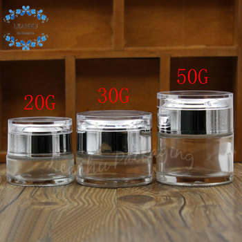 20g 30g 50g  Transparent Glass Cream Jar With Acrylic Cap , Eye Cream Mask Skin Care Packaging Cans Bottles , Empty Container