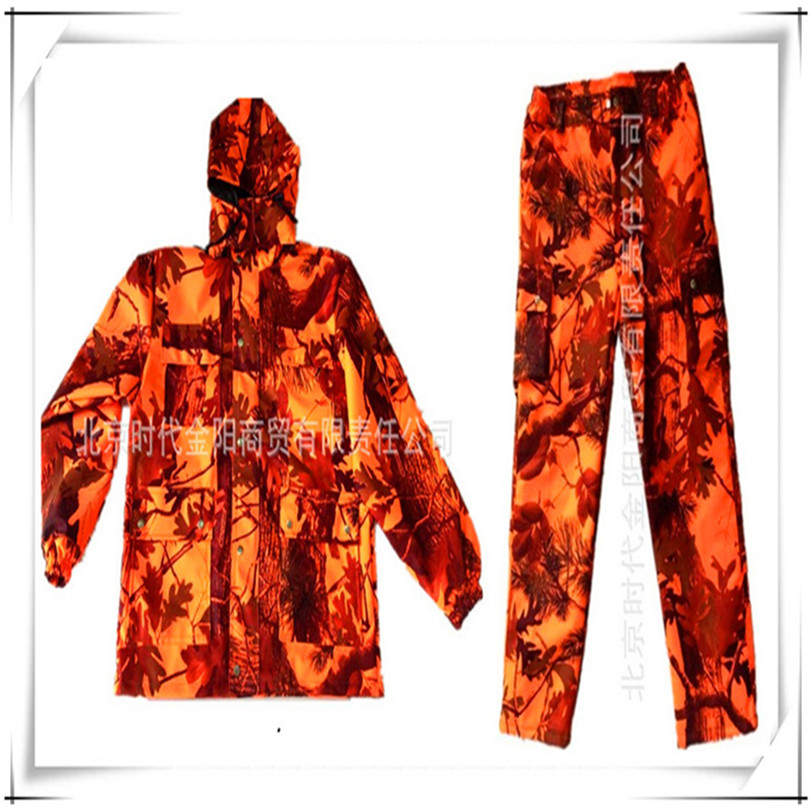 Free Shipping ! Waterproof Maple Leaf Camouflage Hunting Clothes Sniper Tactical Ghillie Suit Fiery Orange Jacket and Pants winter outdoor sports camouflage clothing hunting clothes sniper tactical jacket ghillie suit hunting camping fishing