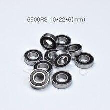6900RS 10*22*6(мм) 10 шт. Подшипник ABEC-5 резиновый герметичный Подшипник тонкостенный подшипник 6900 6900RS хромированный стальной подшипник