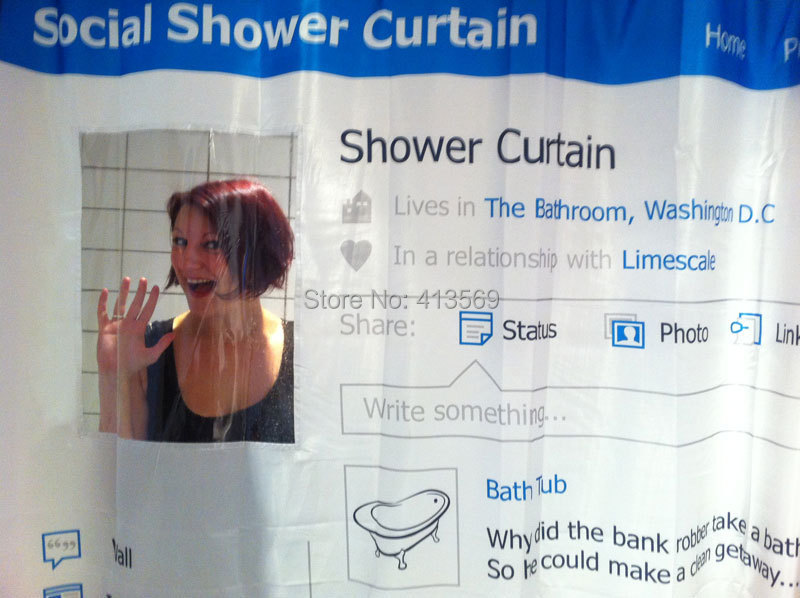Creative Social Polyester Shower Curtain Looks Like A Facebook Page The Update For Your Bathroom In Curtains From Home Garden On Aliexpress