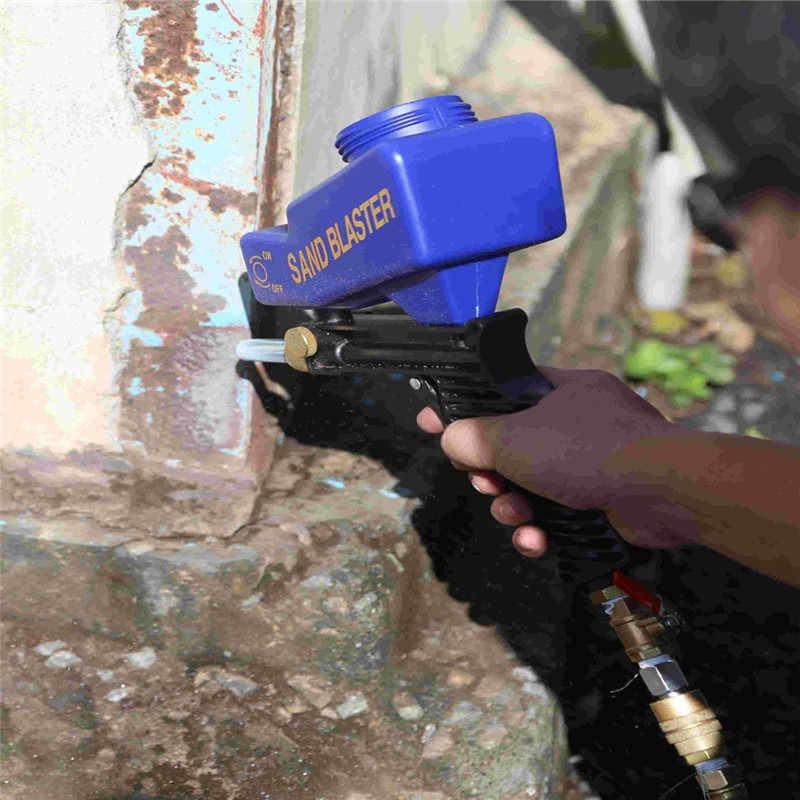 DJSona الجاذبية تغذية المحمولة الهوائية جلخ الرمال الناسف بندقية مع الغيار الناسف تلميح باليد الرملي بندقية الأزرق اللون Ho