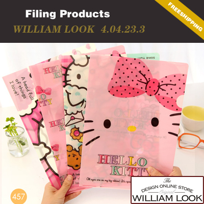 f80d729c5 Free shipping Stationery cute hello kitty waterproof a4 paper folder office  school file box 8pcs/lot promotion gift JP404233-in Document Bag from  Office ...