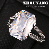 ZYR251 Fashion Design 18K Platinum Plated Wedding Ring Made With Genuine Austrian Crystals Full Sizes Wholesale
