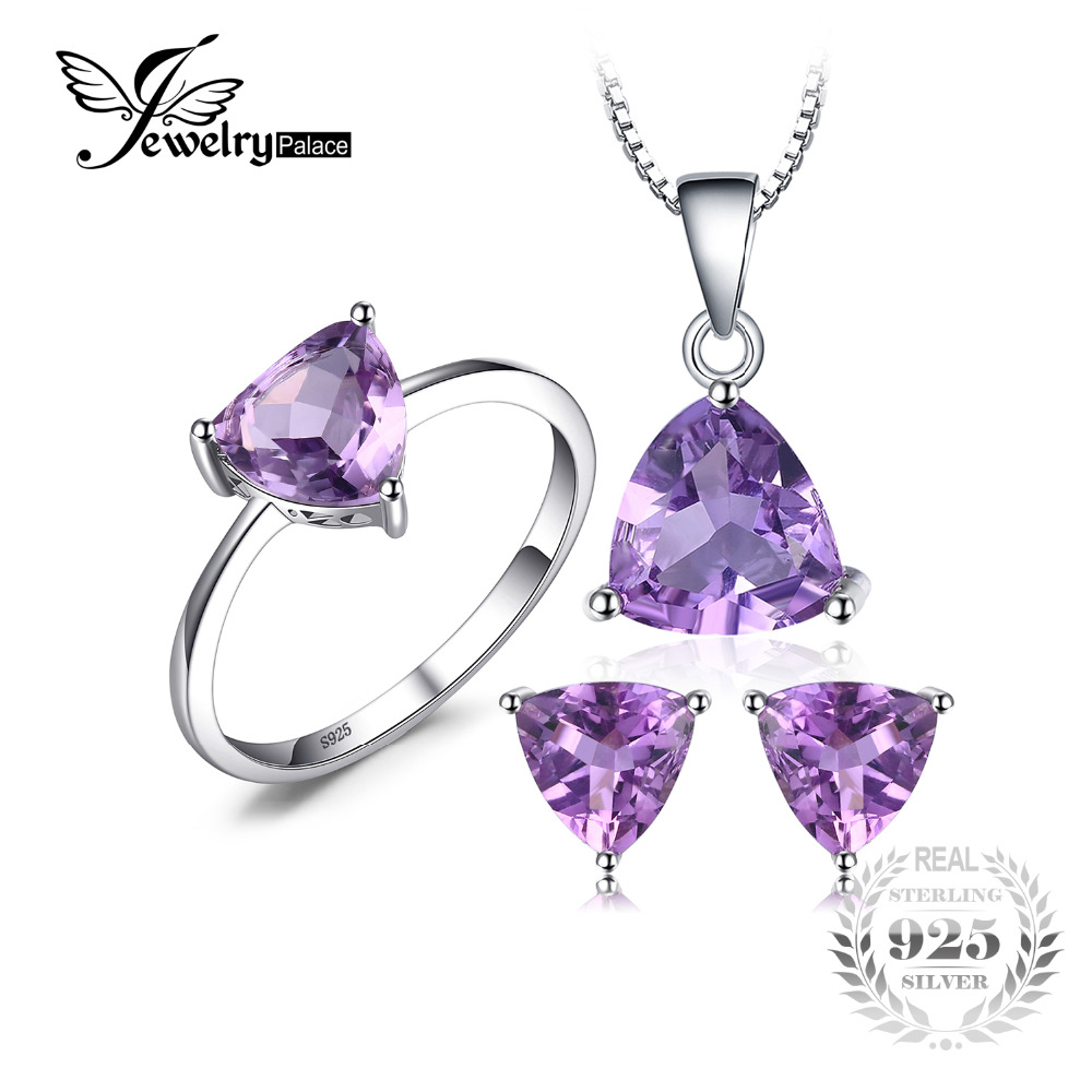 JewelryPalace Trillion 4ct Natural Gemstone Amethyst Ring Earrings Pendant Necklace Jewelry Sets 925 Sterling Silver For Women jewelrypalace trillion 1 1ct natural purple amethyst solitaire ring 100% 925 sterling silver women fashion jewelry big promotion