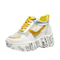 2019 ladies fashion ladies pv sneakers increase 5CM wedge with high platform women's comfortable sports shoes