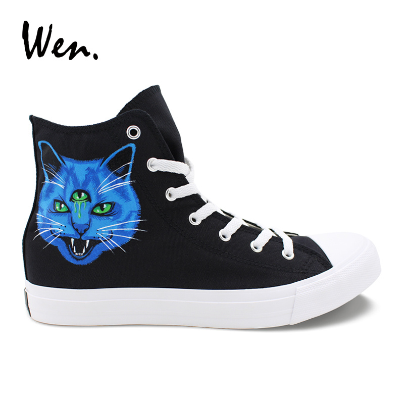 Wen Design Custom Hand Painted Shoes Blue Purple Art Canvas Shoes 3 Eyes Cat Trainers Teenagers Sneakers High Top Plimsolls wen blue hand painted shoes design custom shark in blue sea high top men women s canvas sneakers for birthday gifts
