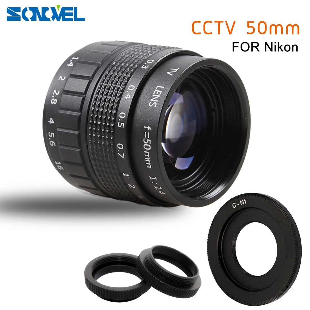 50mm F1.4 CCTV TV Movie lens+C Mount+Macro ring for Nikon 1 AW1 S2 J4 J3 J2 J1 V3 V2 V1 mirrorless Camera C-NI image