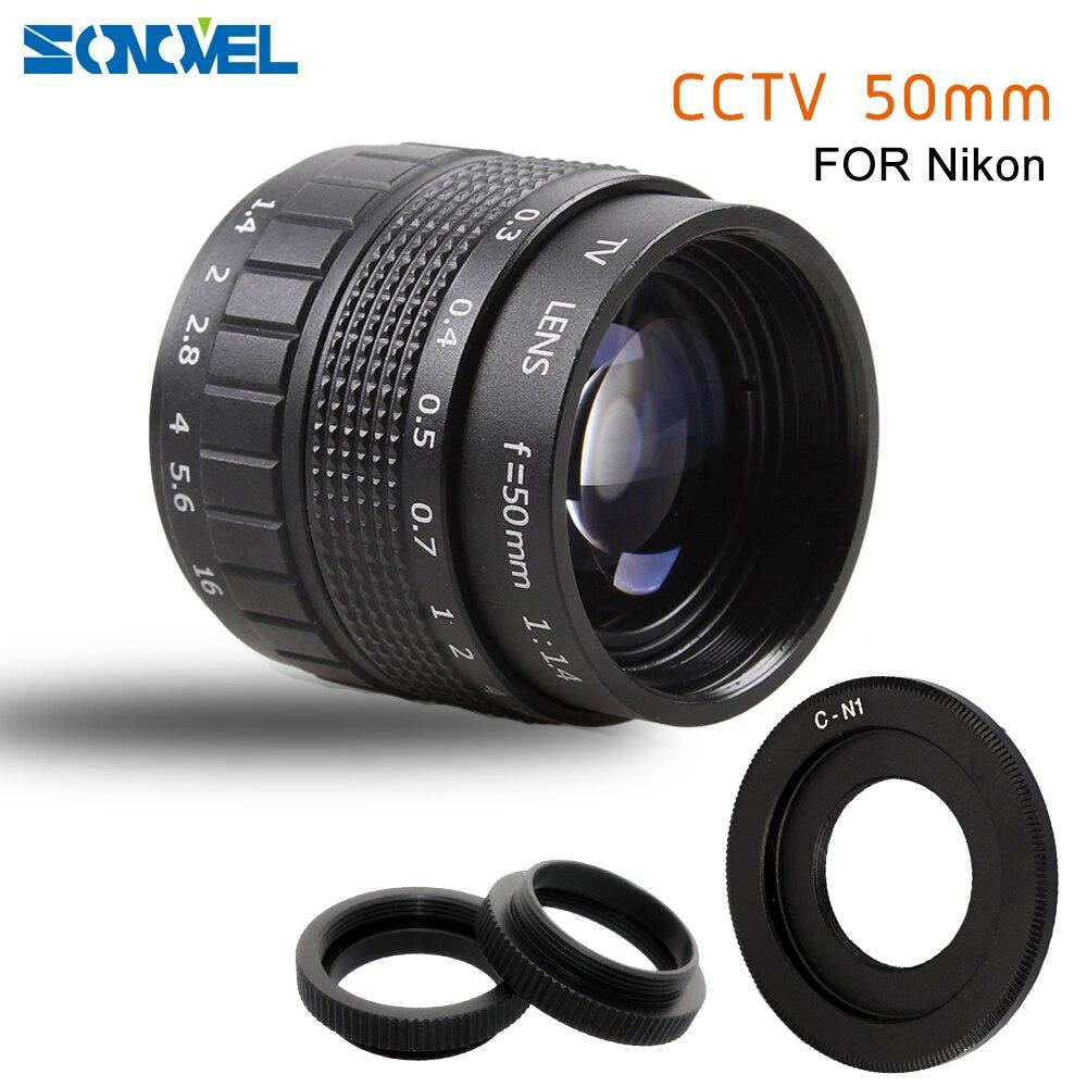 50mm F1.4 CCTV TV lens Filme C + Montagem + anel Macro para Nikon 1 AW1 S2 J4 J3 J2 J1 V1 V2 V3 mirrorless Camera C-NI