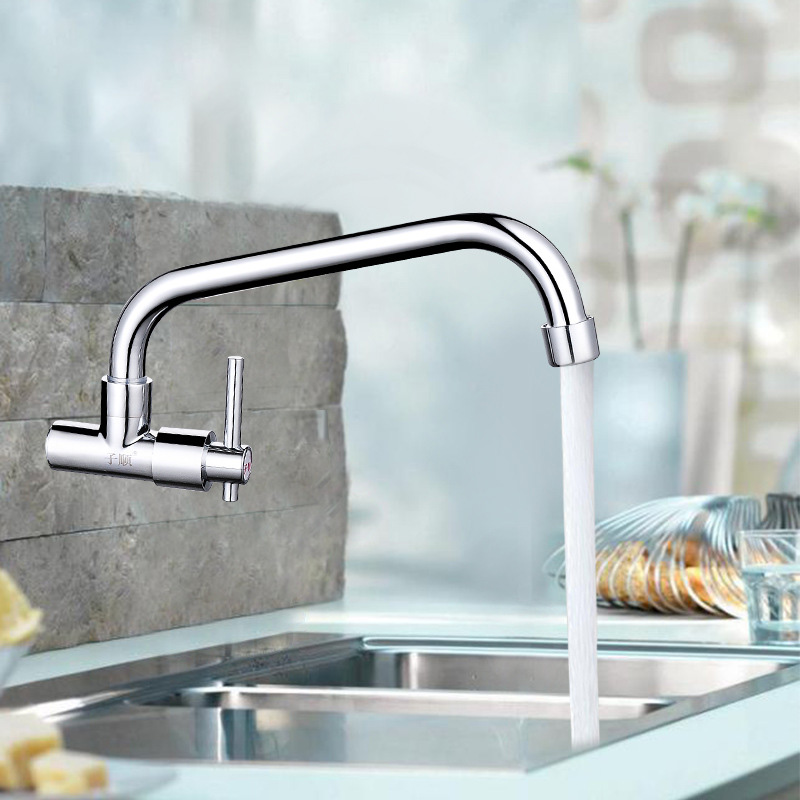 Kitchen Faucet Cold Water Faucet Brass Taps Wash Basin Rotatable Faucet Kitchen Wall-mounted Sink Long Tube Faucet 1/2 inch