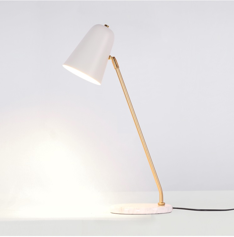 56cm Height Bronzing Metal Table Lamp with Marble Base and Metal Shade in White / Golden Arm Lamp