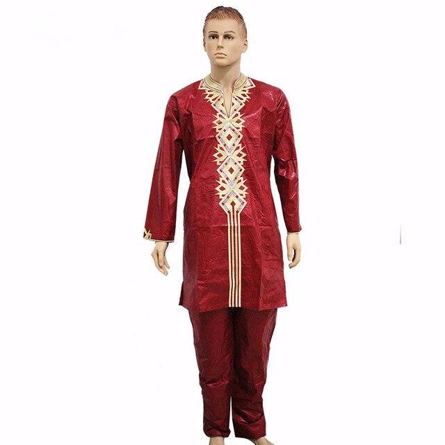 Бесплатная доставка Моды Африканский Мужчины Одежда Традиционный Классический Riche Базен Вышивка Dashiki С Брюк Пять Цветов плюс Размер