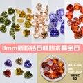100 Pçs/lote Nail Art Pedrinhas Jóias Hot sintético da forma do coração colorido solta cúbicos de zircônia pedra 2007-2012, 8*8 MM
