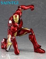 1 pçs/set Encaixotado 14 cm PVC Action Figure Toy Presente Boneca Ironman The Avengers Iron Man Mark VII MK42 Figma 217 Collectible modelo