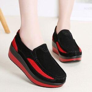 Image 5 - Hosteven/Женская обувь; кроссовки на плоской подошве; балетки из натуральной кожи; женская обувь на платформе; слипоны; женские лоферы; Мокасины