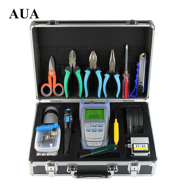 16pcs/set  Fiber Optic FTTH Tool Kit with FC-6S Fiber Cleaver and Optical Power Meter 1Mw Visual Fault Locator