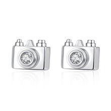 LISM  Fashion Unique Camera Shape AAA Cubic Zirconia Inside Shiny Gold Stud Earrings For Women Girl Party Birthday Tourism